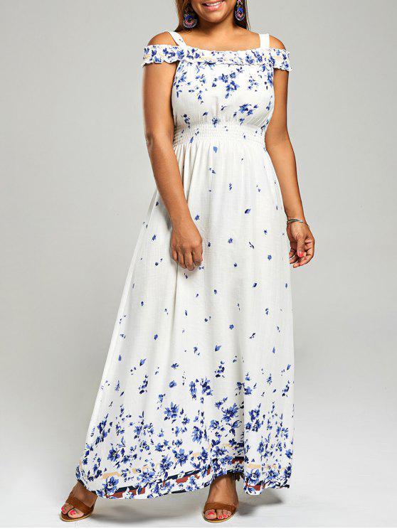 Plus Size Floral Print Cold Shoulder Maxi Dress