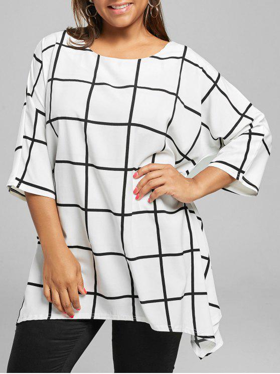 Haut Tunique Asymétrique de Grande Taille en Carreaux - Blanc XL