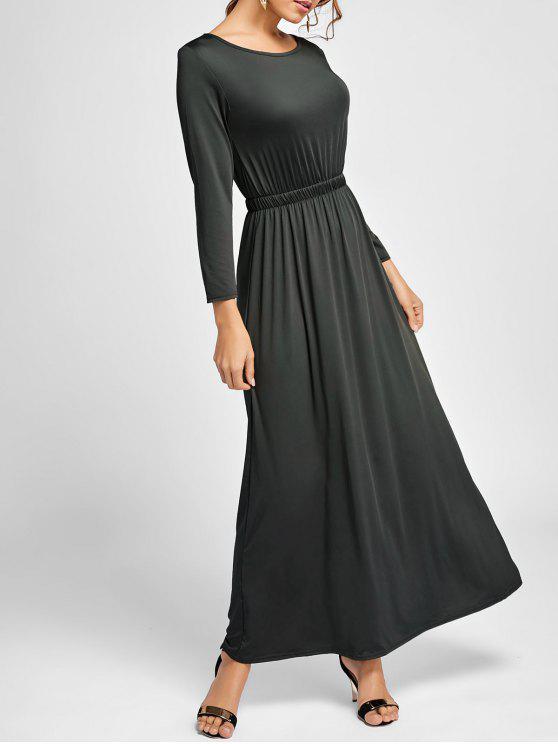 فستان طويلة الأكمام ماكسي متدفق - أسود رمادي L
