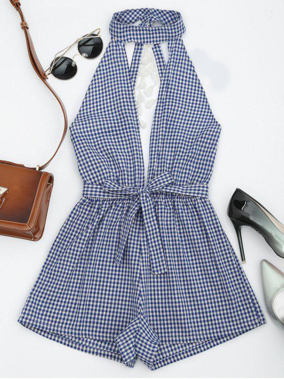 online Cut Out Backless Tassels Checked Romper - BLUE M