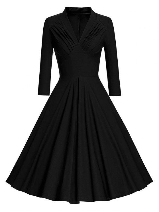 2018 Vintage Long Sleeve Pleated Pinup Dress In Black L Zaful