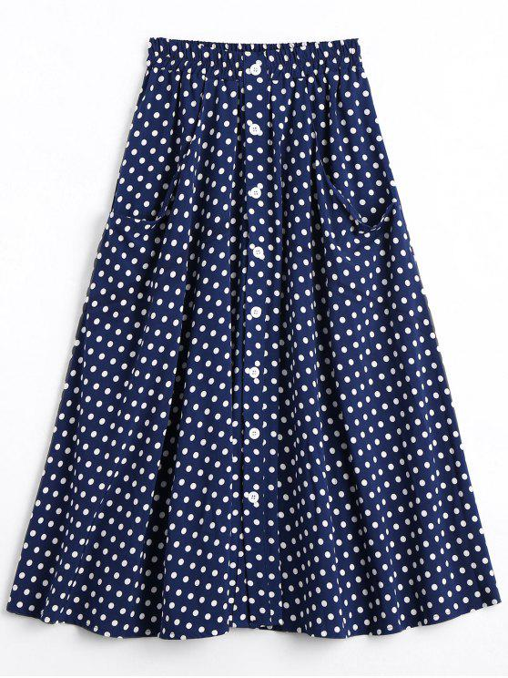 lady Button Up Polka Dot Skirt with Pockets - DOT PATTERN L