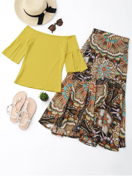 Off Shoulder Top e Printed Skirt Set - Amarelo M