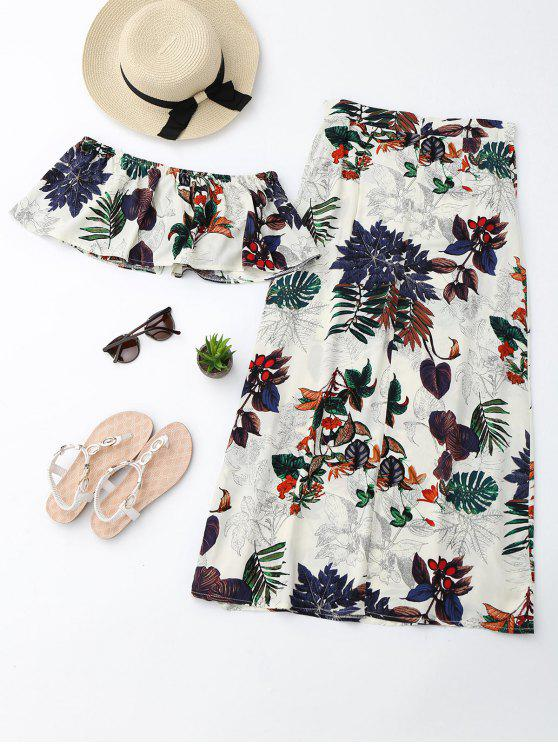 unique Separate Printed Top with Slit Skirt Suit - MULTI S