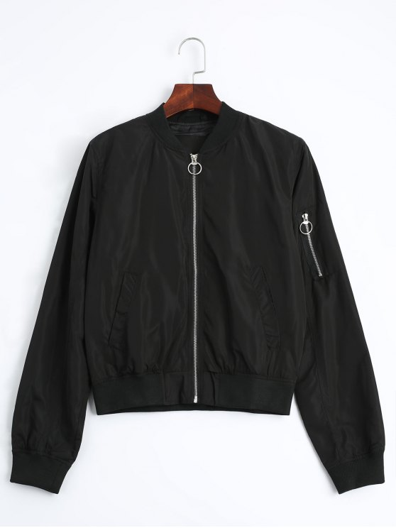 shop Zip Up Fall Bomber Jacket - BLACK M