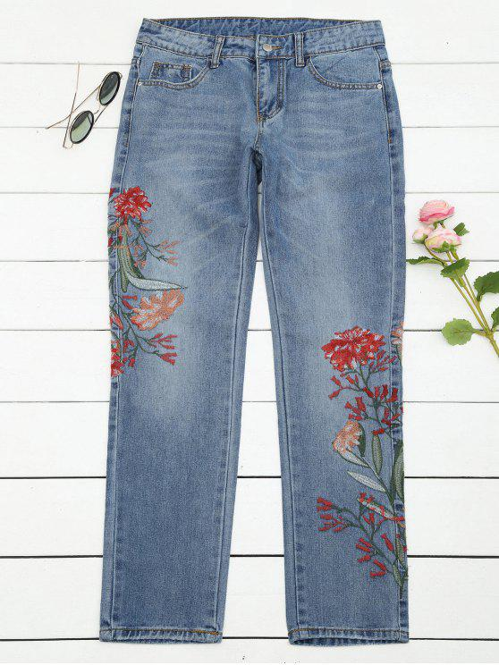 hot Bleach Wash Floral Embroidered Tapered Jeans - DENIM BLUE M