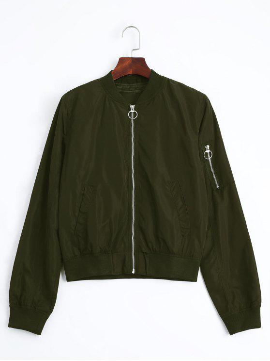 fancy Zip Up Fall Bomber Jacket - ARMY GREEN M