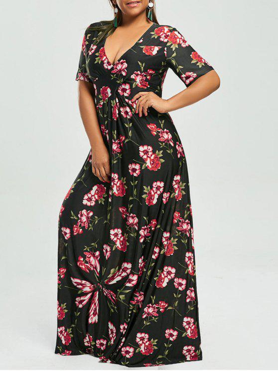 فستان الحجم الكبير طباعة الأزهار غارق ماكسي بوهيمي - أسود 7XL