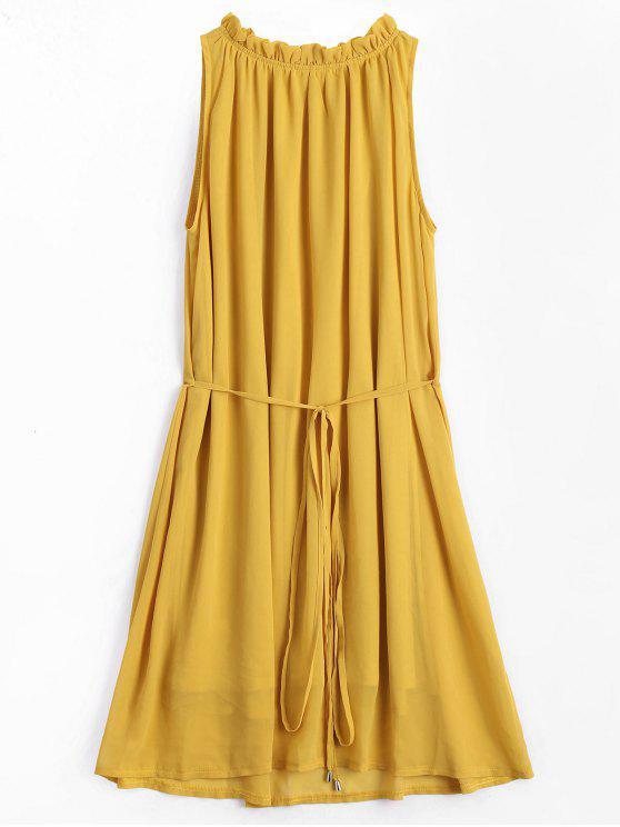 Ruffled Neck mangas Chiffon Dress - Amarelo Gengibre L