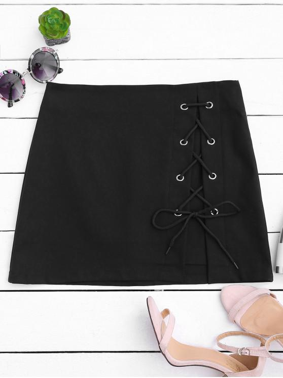 outfits High Waisted Lace Up Bodycon Skirt - BLACK L