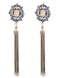 Oval Faux Gem Inlay Metal Fringed Earrings - Golden