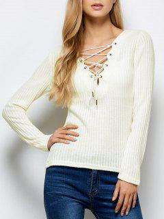 Ribbed Knit Lace Up Jumper - Blanc M