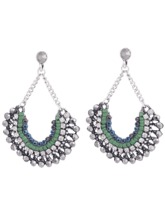 Bohemian Beaded Rhinestone Inlay Drop Earrings - Silver