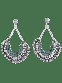 Bohemian Beaded Rhinestone Inlay Drop Earrings - Silver