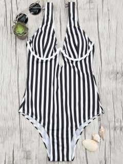 Underwire Striped One Piece Badeanzug - Weiß & Schwarz S