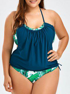 Halter Blouson Plus Size Tropical Tankini Set - Purplish Blue 2xl