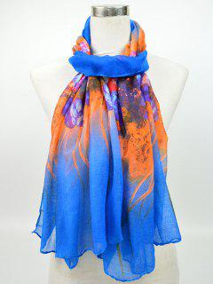 Two Tone Floral Printed Voile Shawl Scarf - Blue