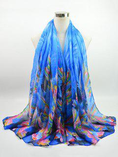 Multicolor Watercolour Printed Voile Gossamer Shawl Scarf - Blue