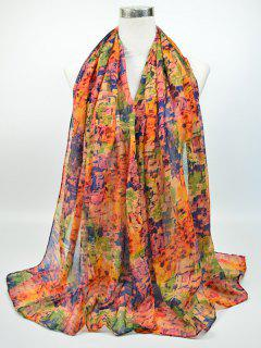 Nostalgic Pattern Voile Gossamer Shawl Scarf - Blue And Red