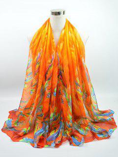 Multicolor Watercolour Printed Voile Gossamer Shawl Scarf - Bright Orange