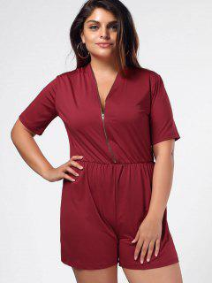 Elastic Waist Plus Size Half Zip Romper - Wine Red 4xl