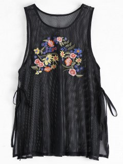 Side Tied Floral Embroidered Slit Tank Top - Black S