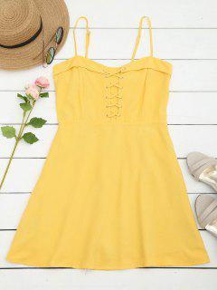 Smocked Panel Lace Up Mini Dress - Yellow S