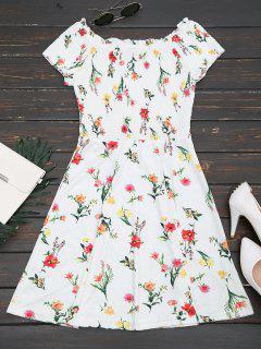 Gerippte Rüschen Aus Der Schulter Ein Linie Kleid - Blumen M