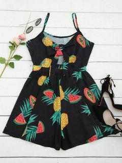 Fruit Print Cut Out Bowknot Romper - Black L