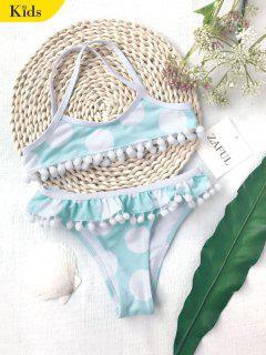 Pom Pom Polka Dot Kids Bikini Set - White And Green 3t