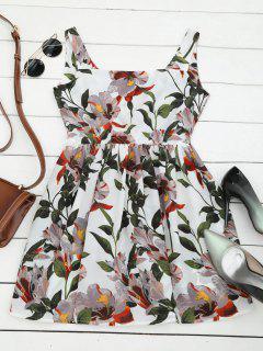 Back Zip Floral A Line Dress - Floral M