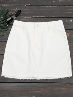 Cutoffs Denim Mini Skirt - White L
