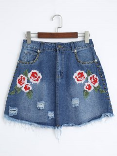 Floral Embroidered Cutoffs Ripped Denim Skirt - Denim Blue M