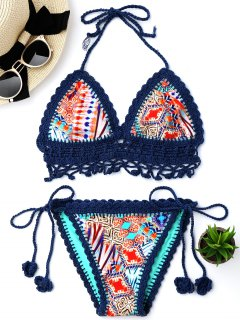 Patterned Crochet Bralette String Bikini Set - Blue L