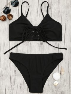 Eyelets Lace Up Bralette Bikini Set - Black L