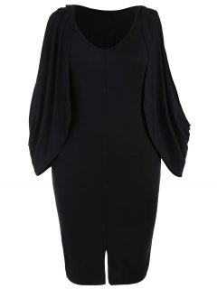 Plus Size Split Sleeve Front Furcal Bodycon Dress - Black 2xl
