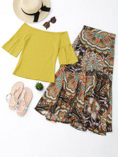 Off Shoulder Top And Printed Skirt Set - Yellow M