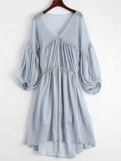 Lantern Sleeve Chiffon High Low Dress With Slip Dress - Blue Gray S