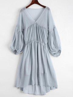 Robe à Manches Courtes En Mousseline à Manches Longues Et à Manches Courtes - Gris Bleu S