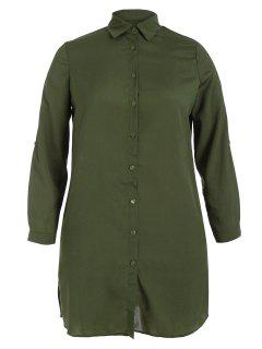 Floral Embroidered Plus Size Shirt Dress - Army Green 3xl