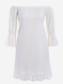 Laser Cut Plus Size Off Shoulder Dress - White Xl