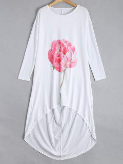 Drop Schulter Blume Hoch Niedrigen Kleid - Weiß Xl