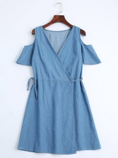 Casual Wrap Cold Shoulder Dress - Denim Blue M