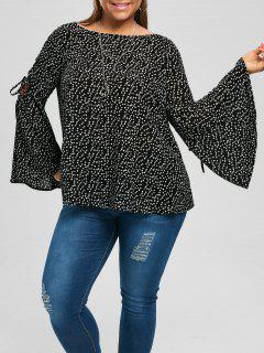 Plus Size Lace Up Flare Sleeve Blouse - Black 2xl