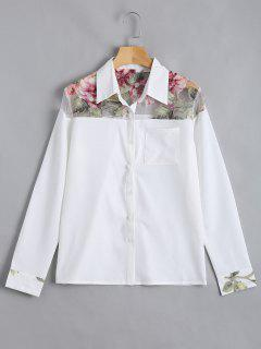 Button Up Floral Pocket Shirt - White Xl