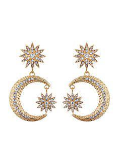 Rhinestone Sun Moon Drop Earrings - Golden