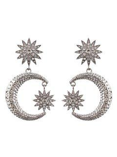 Rhinestone Sun Moon Drop Earrings - Silver
