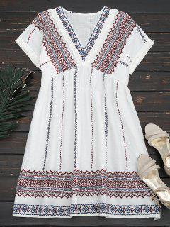 Vestido Recto Con Bordado Con Vivos Desflecados - Blanco M