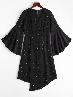 Polka Dot Surplice Asymmetrical Dress - Black M