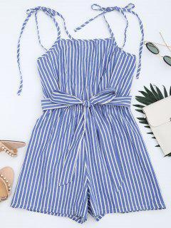 Belted Tied Straps Striped Romper - Blue Xl